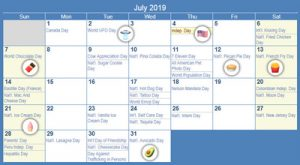 events calendar 7 2019